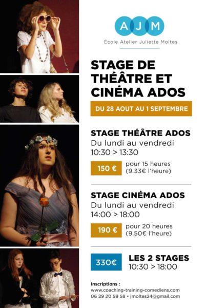 Stage Théâtre et Cinéma pour les 10 - 18 ans