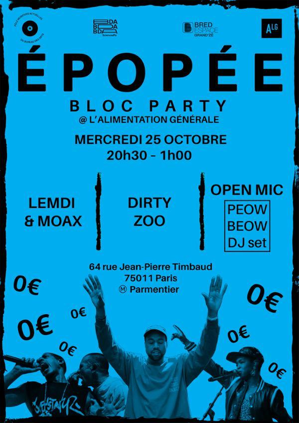 EPOPEE #2 : DIRTY ZOO - LEMDI & MOAX - OPEN MIC W/ PEOW BEOW