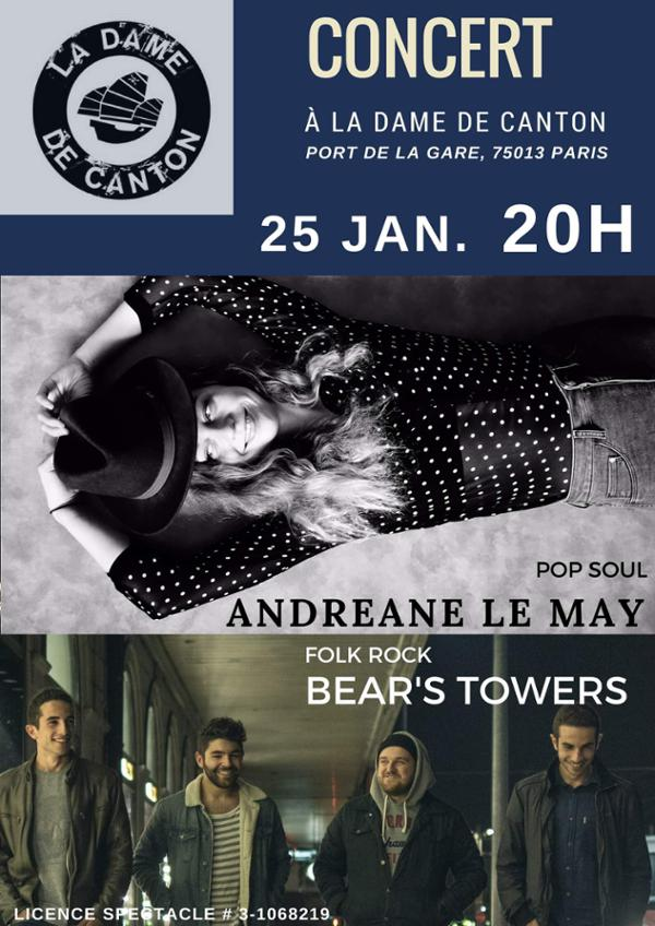 Concert : Andréane Le May + Bear's Towers