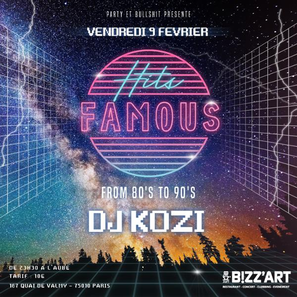 Soirée HITS Famous from 80's to 90's vendredi 9 février au Bizz'Art
