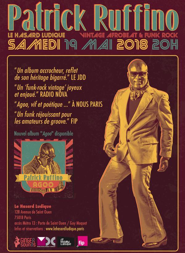 Patrick Ruffino, concert exceptionnel au Hasard Ludique le 19 mai 2018 !