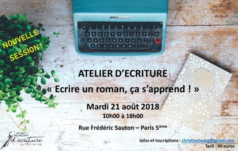 """Atelier d'écriture """"Ecrire un roman, ça s'apprend !"""""""