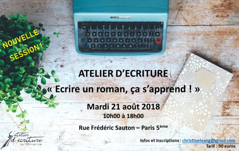 "Atelier d'écriture ""Ecrire un roman, ça s'apprend !"""