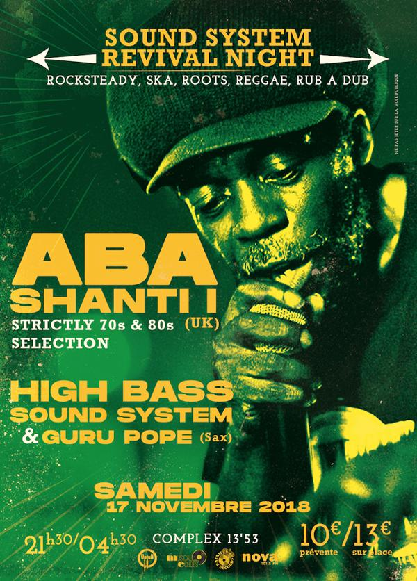 Sound System Revival Night : Aba Shanti I / High Bass Sound System & Guru Pope