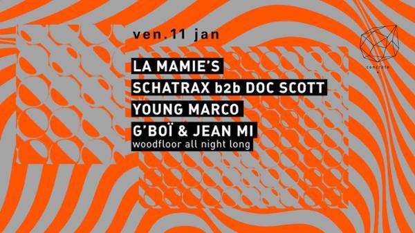Concrete: La Mamie's, Schatrax b2b Doc Scott, Young Marco