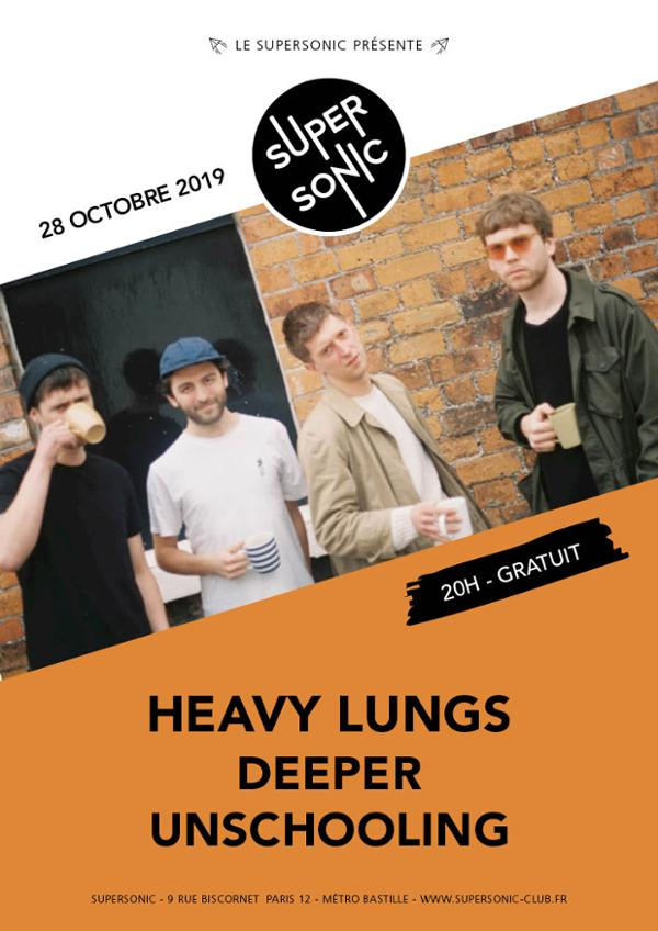 Heavy Lungs • Deeper • Unschooling / Supersonic (Free entry)