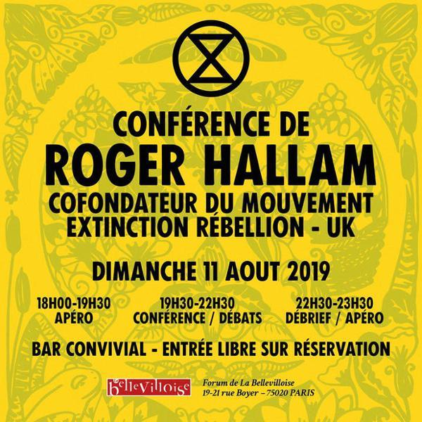 CONFÉRENCE ROGER HALLAM - FONDATEUR DU MOUVEMENT EXTINCTION RÉBELLION