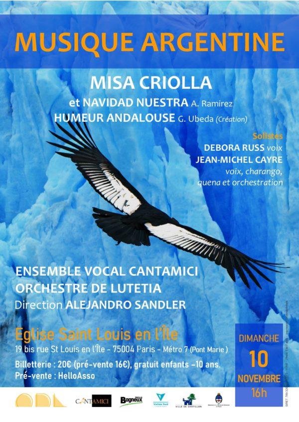 Concert Musique argentine : Orchestre de Lutetia et ensemble vocal Cantamici