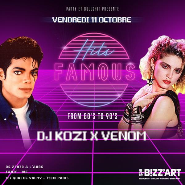 Soirée HITS FamouS from 80's To 90's (Madonna,M.J,Paula Abdul) vendredi 11 octobre au BIZZ'ART